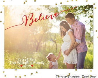 Believe Christmas Card - Digital File - 5x7 Photo Christmas Card - Printable PDF or JPEG File - Printable Christmas Cards -Family Photo Card