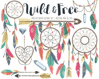 Tribal Clipart - Boho Tribal Clip Art Set, Dream Catcher Clipart, Feather Clipart, Arrow Clipart, Commercial Use Digital Download Clip Art