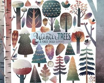 Watercolor Winter Clipart - Winter Trees Clipart, Watercolor Clipart, Winter Clipart, Woodland Clipart, Digital Clip Art, Winter Printables