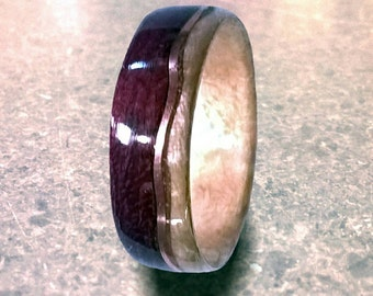 Curvy Copper, Unique wedding ring, wood wedding band, bentwood ring, wood ring with inlay