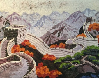 Great Wall of China Vintage Hand-sewn Tapestry Wall-Hanging
