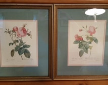 Shipping Fees -- Reserved for Leslie Carroll-Tipton -- Pair of Two Botanical Pink Rose Prints P.J. Redoute French Rosier Floral Flower