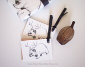 Wombadeer 10 x gift tags with ribbons. Black & ivory white gift tags. Australian animal gift tags. Wombat/deer gift tags. Ready to ship.