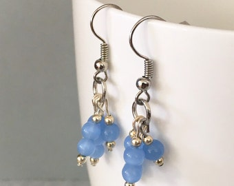 Blue bead earrings, blue dangle earrings, blue drop earrings, blue earrings