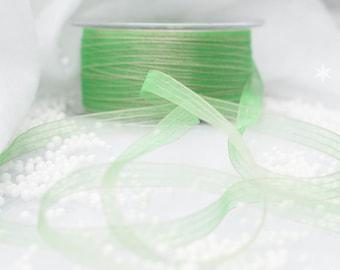 Sheer Green and Gold Organza Ribbon
