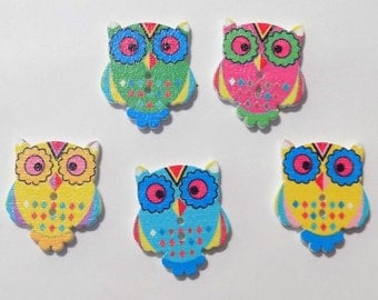 5 Wooden Owl Buttons - #SB-00062