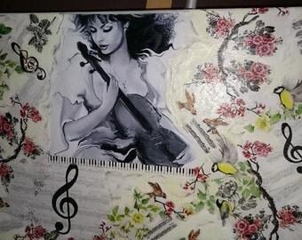 Canvas woman decoupage pictures