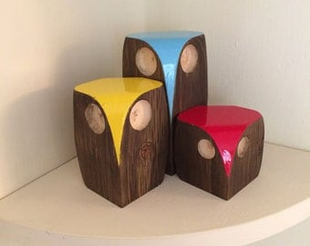 wooden owl family
