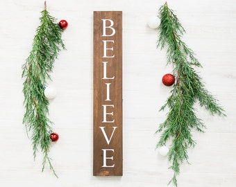 Farmhouse Christmas Decor - Believe Christmas Sign - Rustic Christmas Decor - Holiday Decor - Christmas Signs-  Woodland Christmas Decor