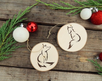 Set of Two Fox Christmas Tree Ornaments- Woodland Christmas Ornaments- Rustic Christmas ornament- Rustic Christmas- Fox Decor
