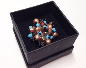 Brown swarovski ring