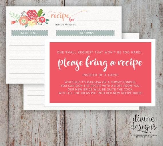 Recipe Card Bridal Shower Please Bring A Cute