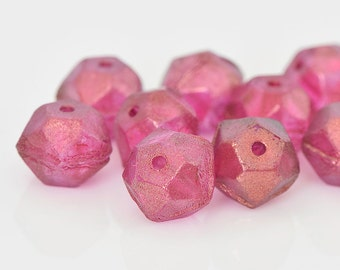 Fuchsia Pink English Cut Beads, Czech Glass Rough Cut, Fuchsia Glass Beads with Frosty Matte Finish, 9x10mm - 15 beads (ENG-04)