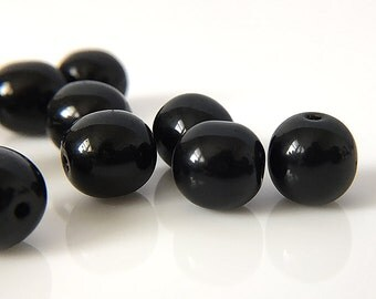 Round Black Glass Beads, Smooth Round Czech Glass Beads, Black Glass Mala Beads, Black Glass Druk Beads, Druk Beads, 8mm - 25 beads (RD-36)