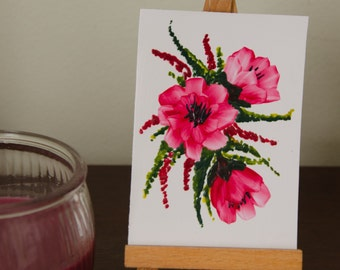Original Encaustic Wax ACEO, Floral Bouquet 4, Pink Floral Miniature Art
