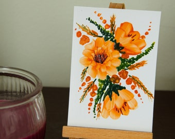 Original Encaustic Wax ACEO, Floral Bouquet 7, Tangerine Floral Miniature Art