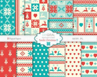 """Red & Blue Nordic Christmas Digital Papers """"Nordic Christmas II""""- Scandinavian Style backgrounds- Cross-stitch- deer, heart, christmas tree"""