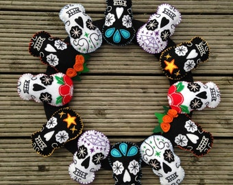 Halloween Mexican Sugar Skull felt reef