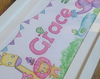 Girls illustrated name frame with animals