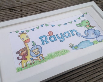 Boy's illustrated name frame with animals