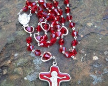 Traditional handmade red crystal rosary with silver and red crystal heart Paters. Sorrowful Mother. Sacred Heart of Jesus.
