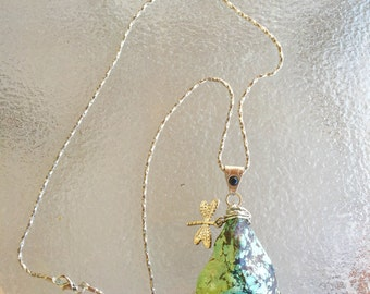 Natural wire wrapped turquoise necklace with dragonfly charm