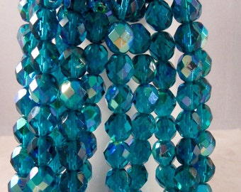 NEPTUNE 8mm AB Teal Firepolish Faceted Round Czech Glass Beads - Teal Beads Turquoise Aurora Borealis - Qty 25 8-021