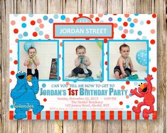 SESAME STREET 1st 2nd Birthday Party Invitation, Blue Red Confetti Boys Girls Party Invite, Sesame Street Elmo Cookie Monster, Digital Photo