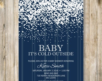 Snow BABY It's COLD OUTSIDE Invitation, Winter Baby Shower invite, Winter Baby Boy Shower, Navy Blue Coed Couple Shower, Digital Printable