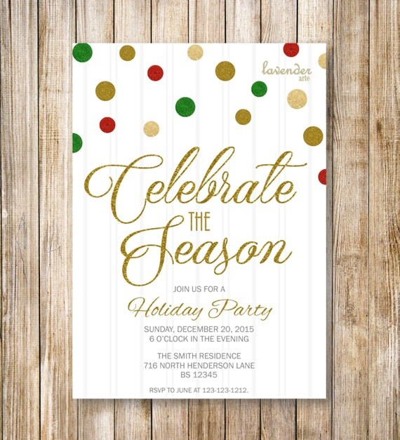 CELEBRATE the SEASON HOLIDAY Party Invitation Red Green Gold – Holiday or Seasons Greetings Invitation Cards