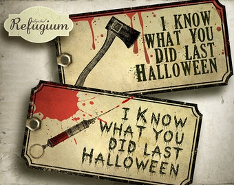 printable halloween Tags digital/ INSTANT DOWNLOAD/Digital Collage Sheet
