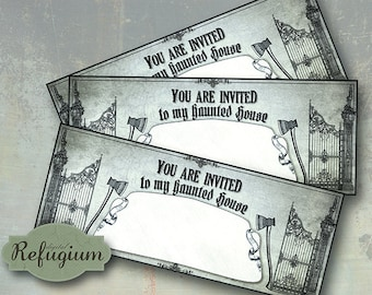 Halloween invitation cards/ INSTANT DOWNLOAD/ Digital Collage sheet greeting cards