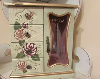 Shabby Chic Jewelry Box - Cottage Chic Jewelry Box - Hand Painted Jewelry Box - Vintage Reloved