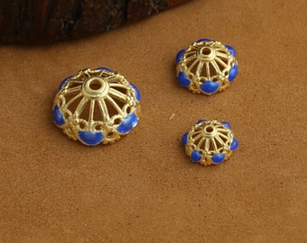 925 8mm sterling silver Spider Web receptacle cloisonne burn blue 24K gold craft DIY three-ring bracelet Jewelry Accessories
