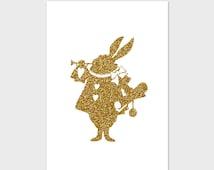 Gold White Rabbit - Printable Art, Instant Download, 8x10, Printable Image, White Rabbit Print, Nursery Print, Alice Print,Nursery Art,Print