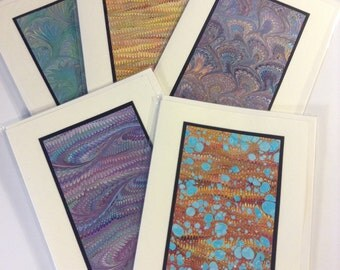 Handmade Marbled Card, set of 5