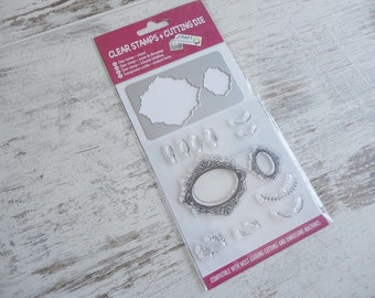 """Clear stamps & cutting die """"leaves"""""""