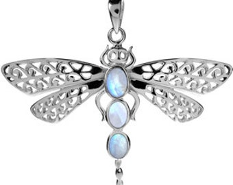 Sterling Silver Moonstone Dragonfly Pendant Necklace