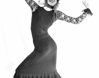 BLACK SPANDEX FLAMENCO skirt with 3 ruffles