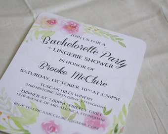 Floral Bachelorette Party, Lingerie Shower Invitation, Pink Roses-Printable DIGITAL download