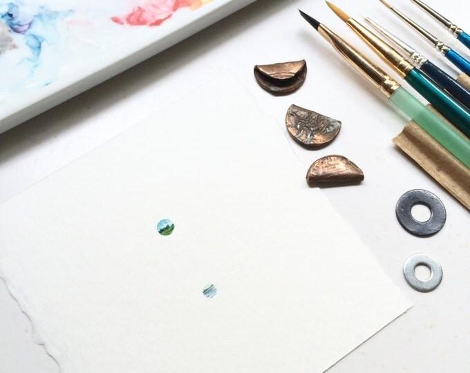 Excerpere / original tiny watercolor + gouache landscape paintings / geometric minimalist art