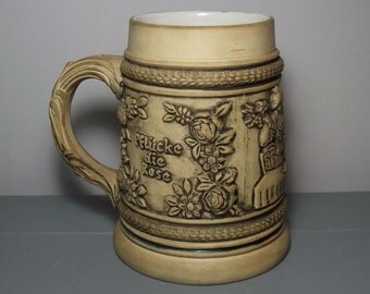 West German Beer Stein/German Tankard/Egon Bay Tankard/German Stein/Cream Tankard/Pflücke die rose eh sie verblüht/Western Germany Tankard