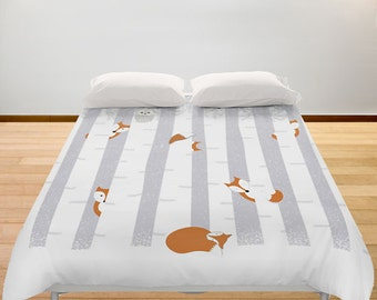 Fox Duvet Cover Snow Personalized color - Full King Queen Bedding - Animals Trees Forest Bedroom Decor Gift Women Children Teens Birthday