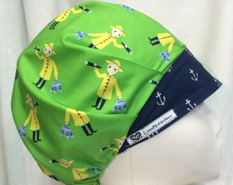 Yellow Slicker Green bouffant Scrub Hats for Women Surgical Cap Scrub Hat Navy Blue Anchors Surgery Tech OR Nurse Anesthesia LoveNstitchies