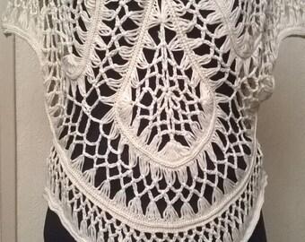 Ecru cotton color crochet sweater