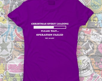 Christmas spirit Tee-christmas clothes-festive Tshirt-bah humbug-gift for girlfriend-geek xmas Tee-Womens Short sleeved Tee