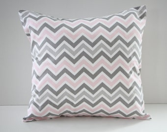 Decorative Pillow Cover, Pillow Sham, Pink and Gray Chevron Pillow Sham, 18x18, Home Decor, Throw Pillow