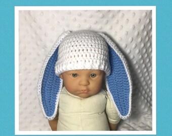 LittleBits Newborn Baby Crocheted Blue/White Floppy Ear Easter Bunny Beanie - Australia