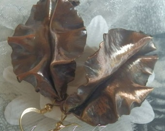 Copper Fold Formed   Leaf Earrings