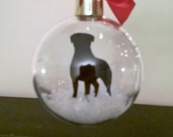 Rottweiler Silhouette in the Snow Pet Bauble